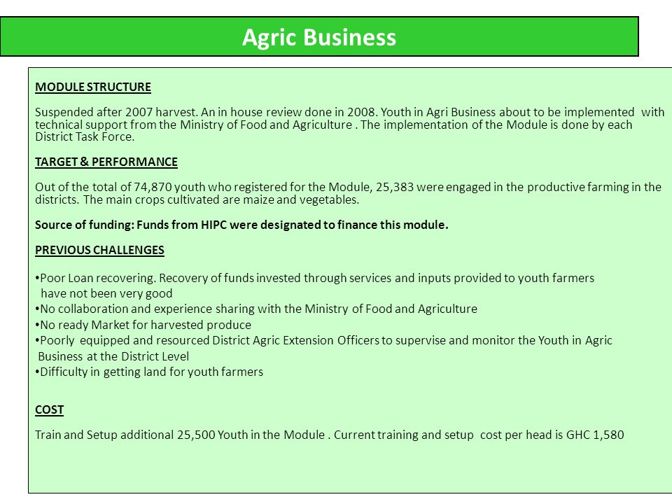 21 Agric Business MODULE STRUCTURE Suspended after 2007 harvest.