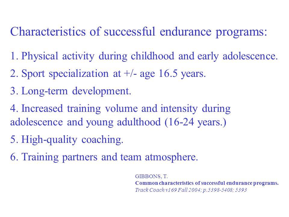 Characteristics of successful endurance programs: 1.