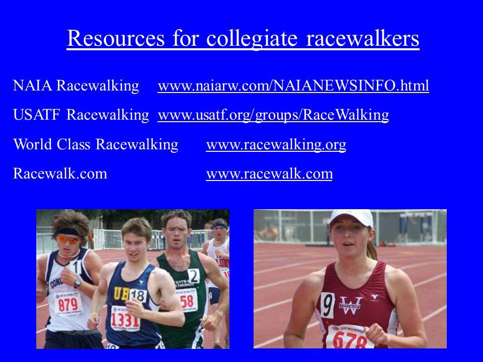 Resources for collegiate racewalkers NAIA Racewalking www.naiarw.com/NAIANEWSINFO.html USATF Racewalkingwww.usatf.org/groups/RaceWalking World Class Racewalkingwww.racewalking.org Racewalk.comwww.racewalk.com