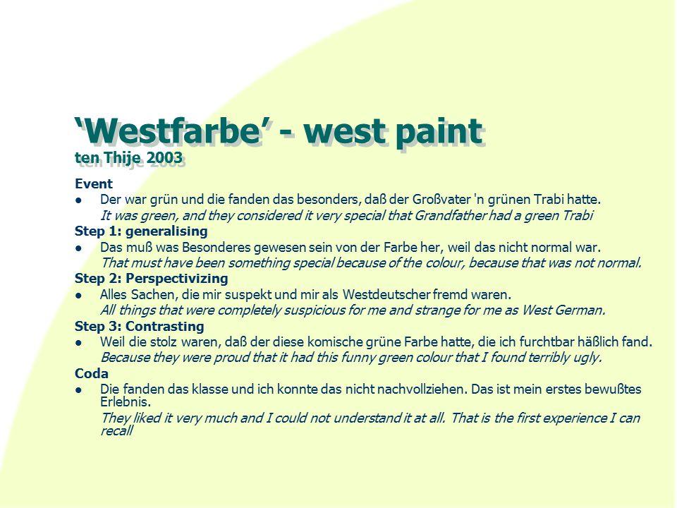 'Westfarbe' - west paint ten Thije 2003 Event Der war grün und die fanden das besonders, daß der Großvater n grünen Trabi hatte.