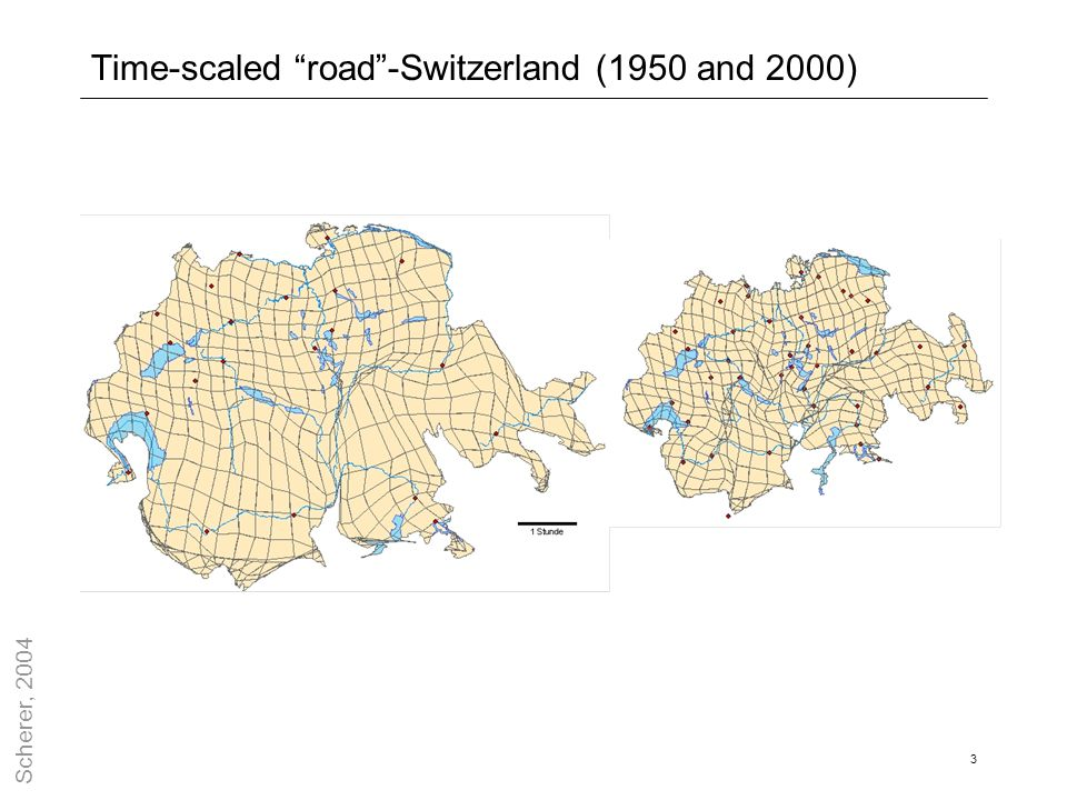 "3 Time-scaled ""road""-Switzerland (1950 and 2000) Scherer, 2004"