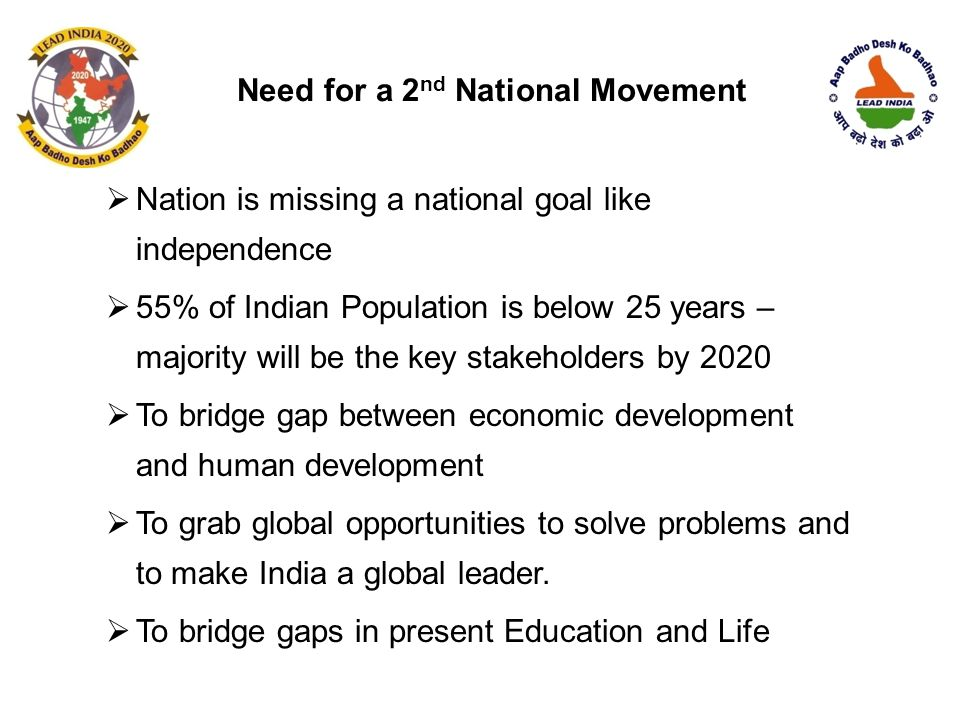  Nation is missing a national goal like independence  55% of Indian Population is below 25 years – majority will be the key stakeholders by 2020  T