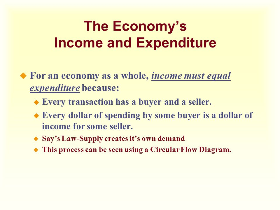 The Economy's Income and Expenditure u For an economy as a whole, income must equal expenditure because: u Every transaction has a buyer and a seller.