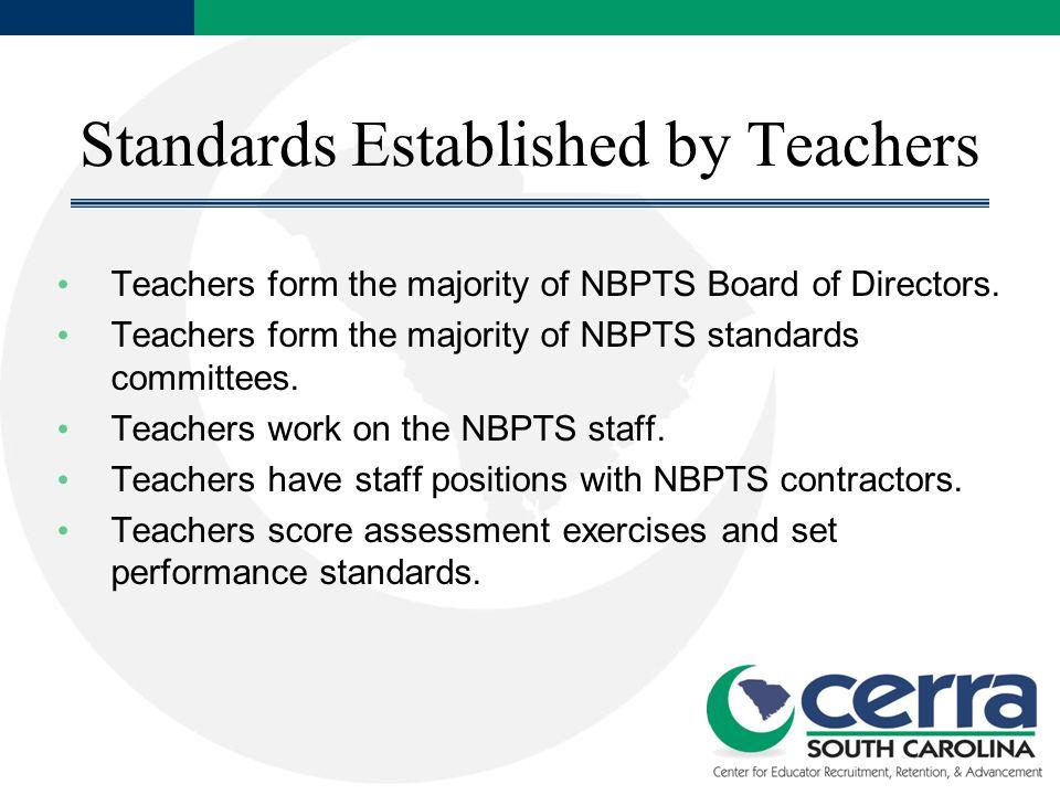 Standards Established by Teachers Teachers form the majority of NBPTS Board of Directors.