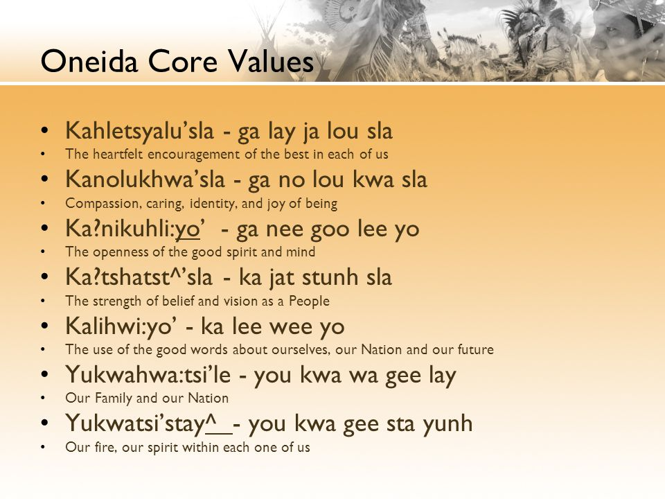 Oneida Core Values Kahletsyalu'sla - ga lay ja lou sla The heartfelt encouragement of the best in each of us Kanolukhwa'sla - ga no lou kwa sla Compassion, caring, identity, and joy of being Ka?nikuhli:yo' - ga nee goo lee yo The openness of the good spirit and mind Ka?tshatst^'sla - ka jat stunh sla The strength of belief and vision as a People Kalihwi:yo' - ka lee wee yo The use of the good words about ourselves, our Nation and our future Yukwahwa:tsi'le - you kwa wa gee lay Our Family and our Nation Yukwatsi'stay^ - you kwa gee sta yunh Our fire, our spirit within each one of us
