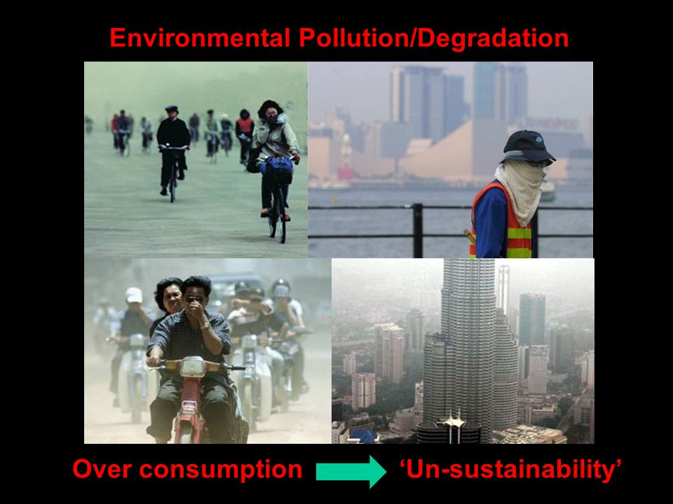 Environmental Pollution/Degradation Over consumption 'Un-sustainability'