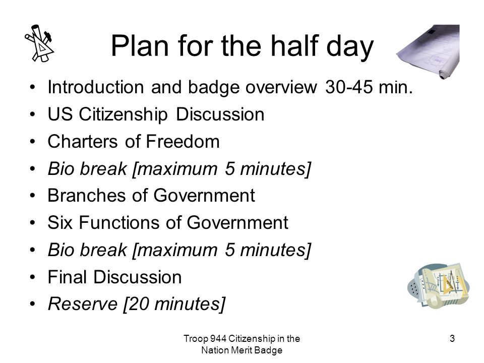 Troop 944 Citizenship in the Nation Merit Badge 3 Plan for the half day Introduction and badge overview 30-45 min.