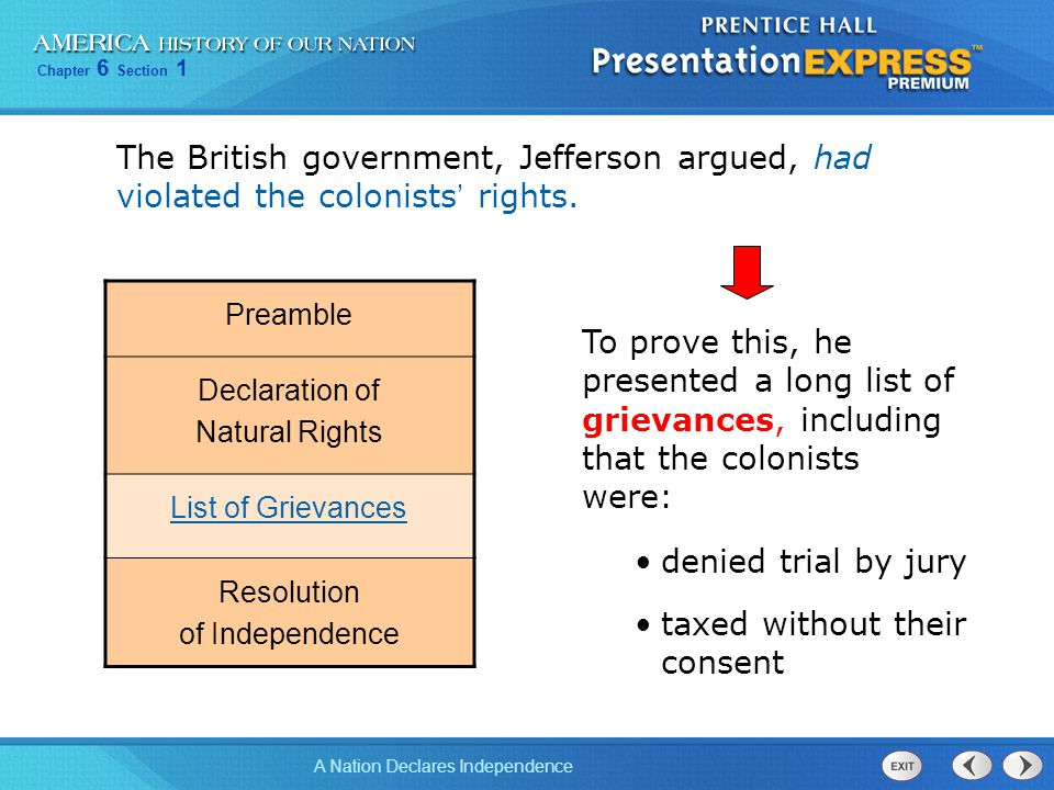 Chapter 6 Section 1 A Nation Declares Independence The British government, Jefferson argued, had violated the colonists ' rights. Preamble Declaration