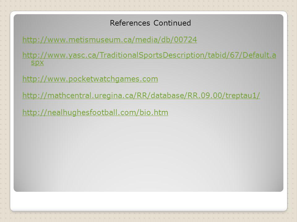 References Continued http://www.metismuseum.ca/media/db/00724 http://www.yasc.ca/TraditionalSportsDescription/tabid/67/Default.a spx http://www.pocketwatchgames.com http://mathcentral.uregina.ca/RR/database/RR.09.00/treptau1/ http://nealhughesfootball.com/bio.htm