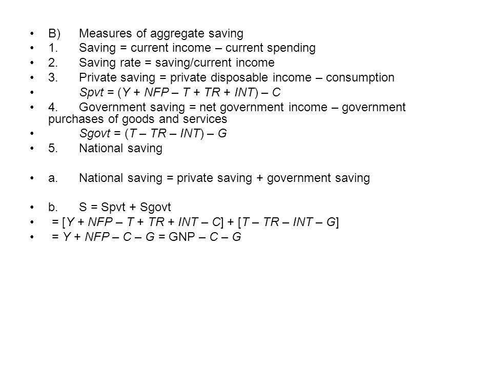 B)Measures of aggregate saving 1.Saving = current income – current spending 2.Saving rate = saving/current income 3.Private saving = private disposabl
