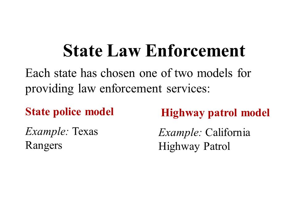 Chapter 5 State Law Enforcement Each state has chosen one of two models for providing law enforcement services: State police model Highway patrol mode
