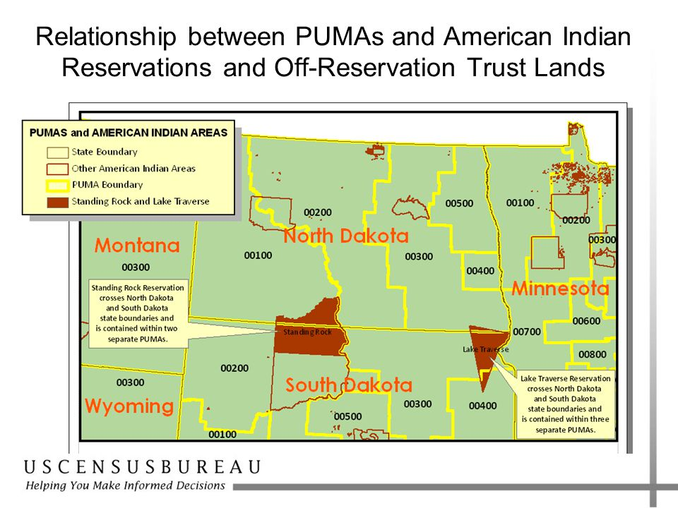 Relationship between PUMAs and American Indian Reservations and Off-Reservation Trust Lands