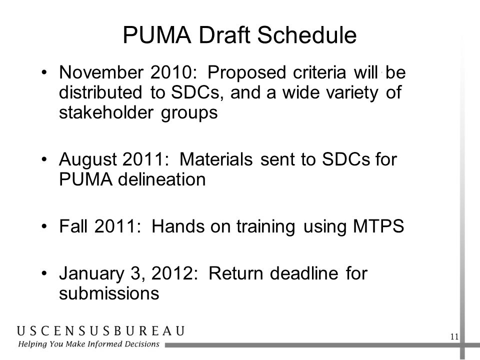 PUMA Draft Schedule November 2010: Proposed criteria will be distributed to SDCs, and a wide variety of stakeholder groups August 2011: Materials sent to SDCs for PUMA delineation Fall 2011: Hands on training using MTPS January 3, 2012: Return deadline for submissions 11