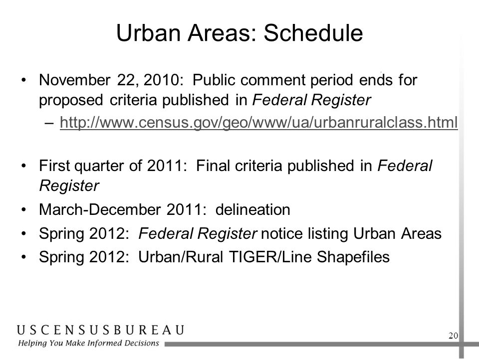 Urban Areas: Schedule November 22, 2010: Public comment period ends for proposed criteria published in Federal Register –http://www.census.gov/geo/www/ua/urbanruralclass.htmlhttp://www.census.gov/geo/www/ua/urbanruralclass.html First quarter of 2011: Final criteria published in Federal Register March-December 2011: delineation Spring 2012: Federal Register notice listing Urban Areas Spring 2012: Urban/Rural TIGER/Line Shapefiles 20