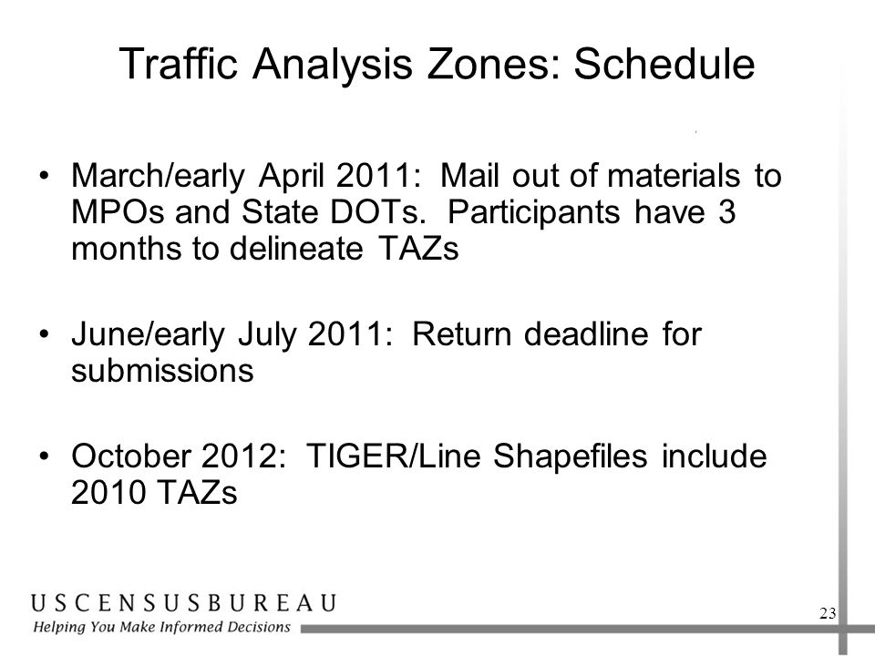 Traffic Analysis Zones: Schedule March/early April 2011: Mail out of materials to MPOs and State DOTs.