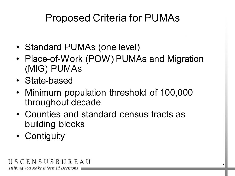 Proposed Criteria for PUMAs Standard PUMAs (one level) Place-of-Work (POW) PUMAs and Migration (MIG) PUMAs State-based Minimum population threshold of 100,000 throughout decade Counties and standard census tracts as building blocks Contiguity 3