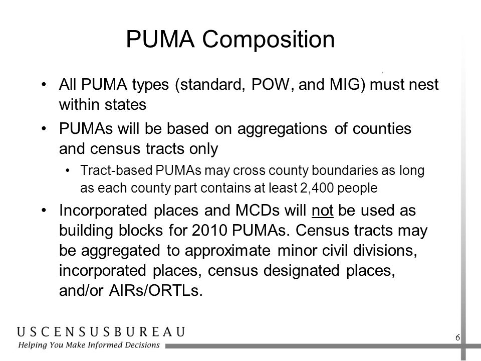 PUMA Composition All PUMA types (standard, POW, and MIG) must nest within states PUMAs will be based on aggregations of counties and census tracts only Tract-based PUMAs may cross county boundaries as long as each county part contains at least 2,400 people Incorporated places and MCDs will not be used as building blocks for 2010 PUMAs.