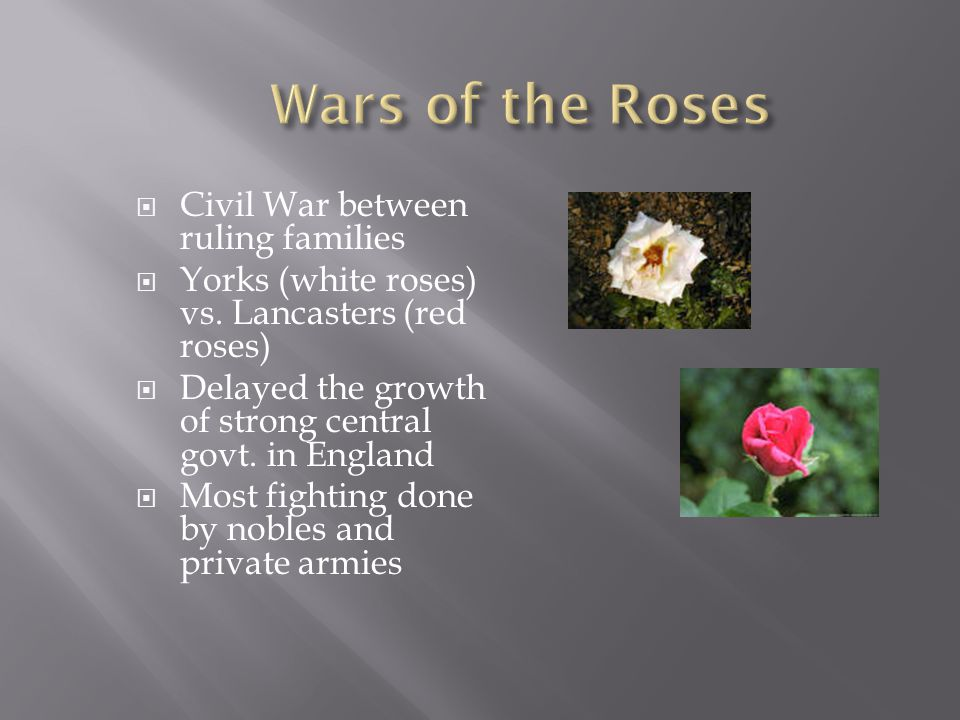  Civil War between ruling families  Yorks (white roses) vs. Lancasters (red roses)  Delayed the growth of strong central govt. in England  Most fi