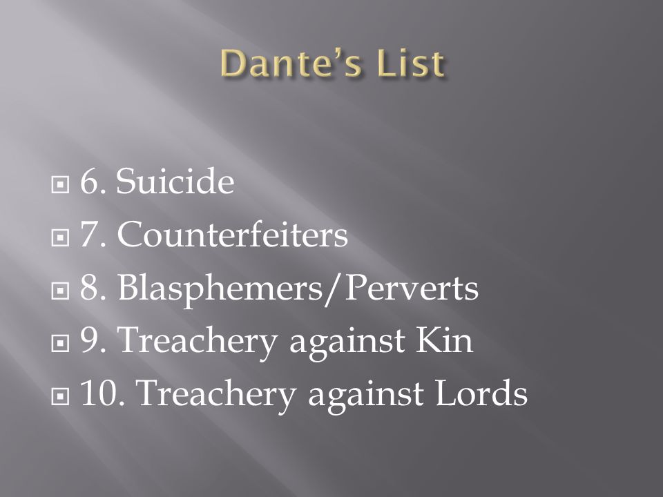  6. Suicide  7. Counterfeiters  8. Blasphemers/Perverts  9.
