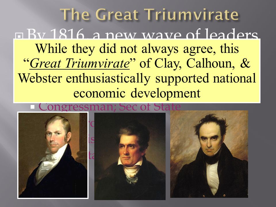  The Dem-Repubs traditionally represented limited gov't, states rights, & strict construction  But, without Federalist opposition, the Dem-Repubs adopted many traditionally Federalist policies:  National economic development  A permanent army  Transportation improvements  A national university in D.C.
