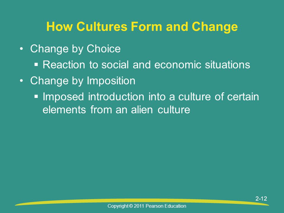 Copyright © 2011 Pearson Education 2-12 How Cultures Form and Change Change by Choice  Reaction to social and economic situations Change by Impositio