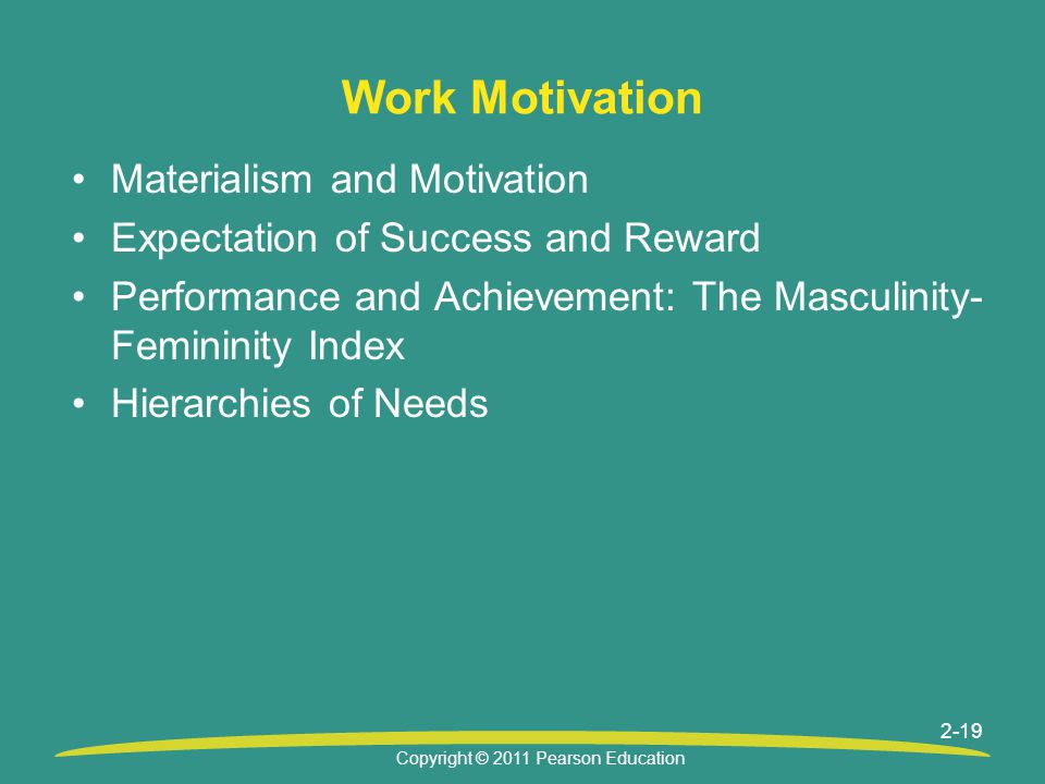 Copyright © 2011 Pearson Education 2-19 Work Motivation Materialism and Motivation Expectation of Success and Reward Performance and Achievement: The Masculinity- Femininity Index Hierarchies of Needs