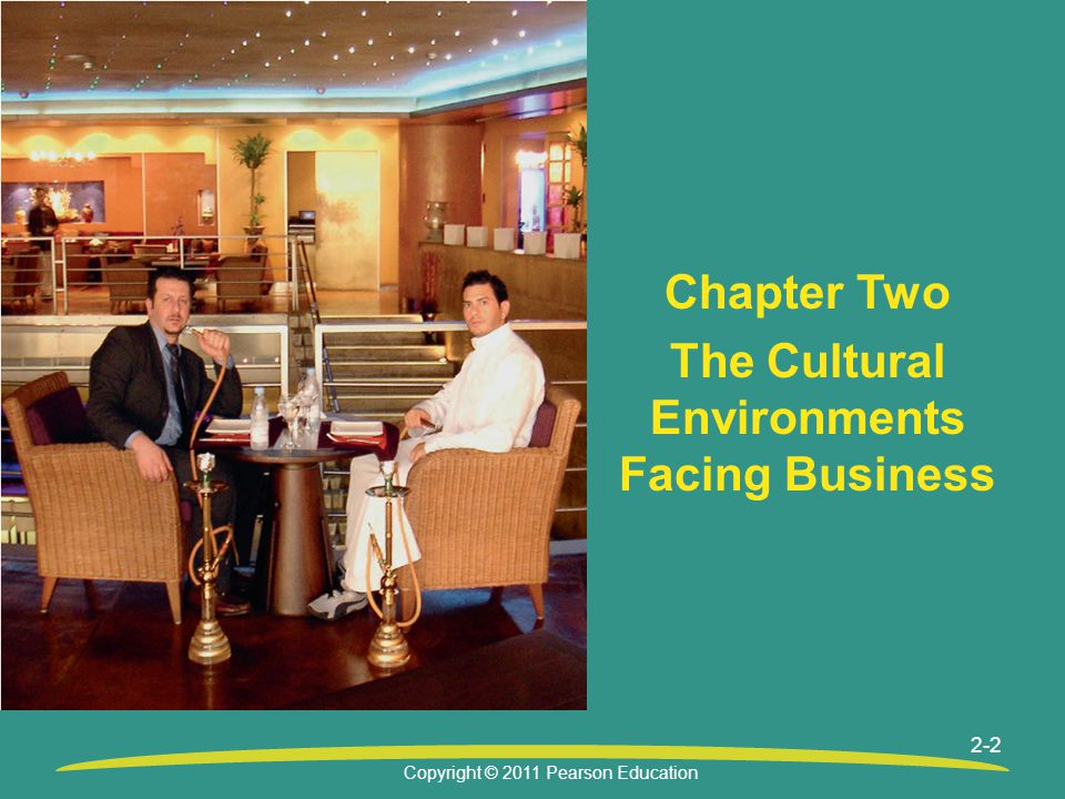 Copyright © 2011 Pearson Education 2-2 Chapter Two The Cultural Environments Facing Business