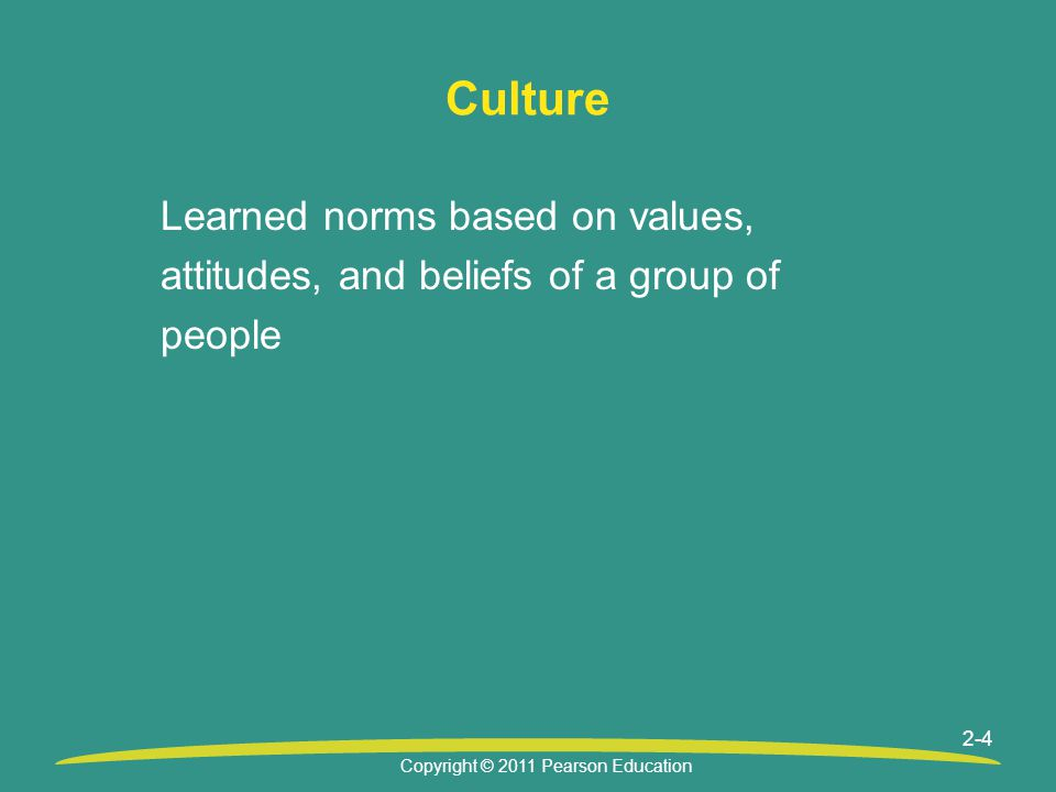 Copyright © 2011 Pearson Education 2-4 Culture Learned norms based on values, attitudes, and beliefs of a group of people