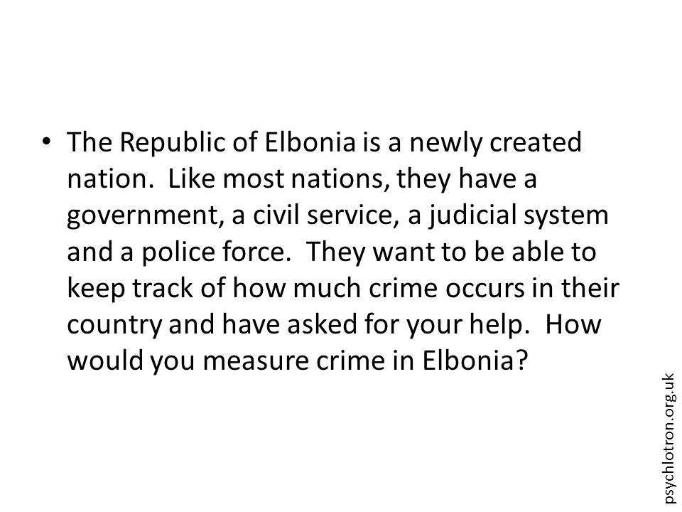 psychlotron.org.uk The Republic of Elbonia is a newly created nation.