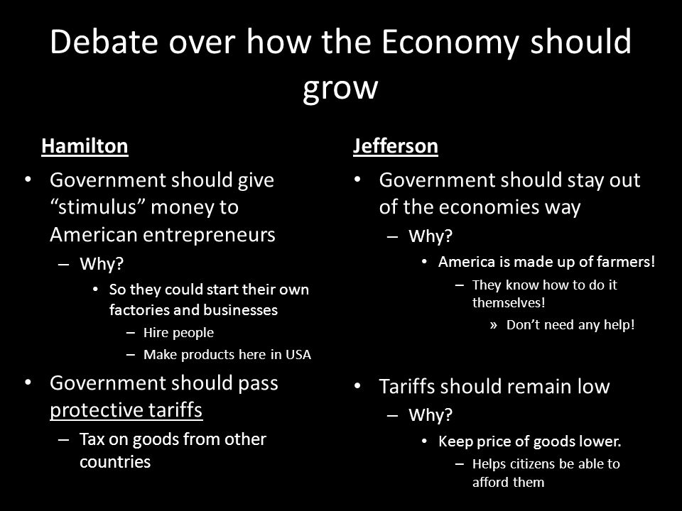 """Debate over how the Economy should grow Hamilton Government should give """"stimulus"""" money to American entrepreneurs – Why? So they could start their ow"""