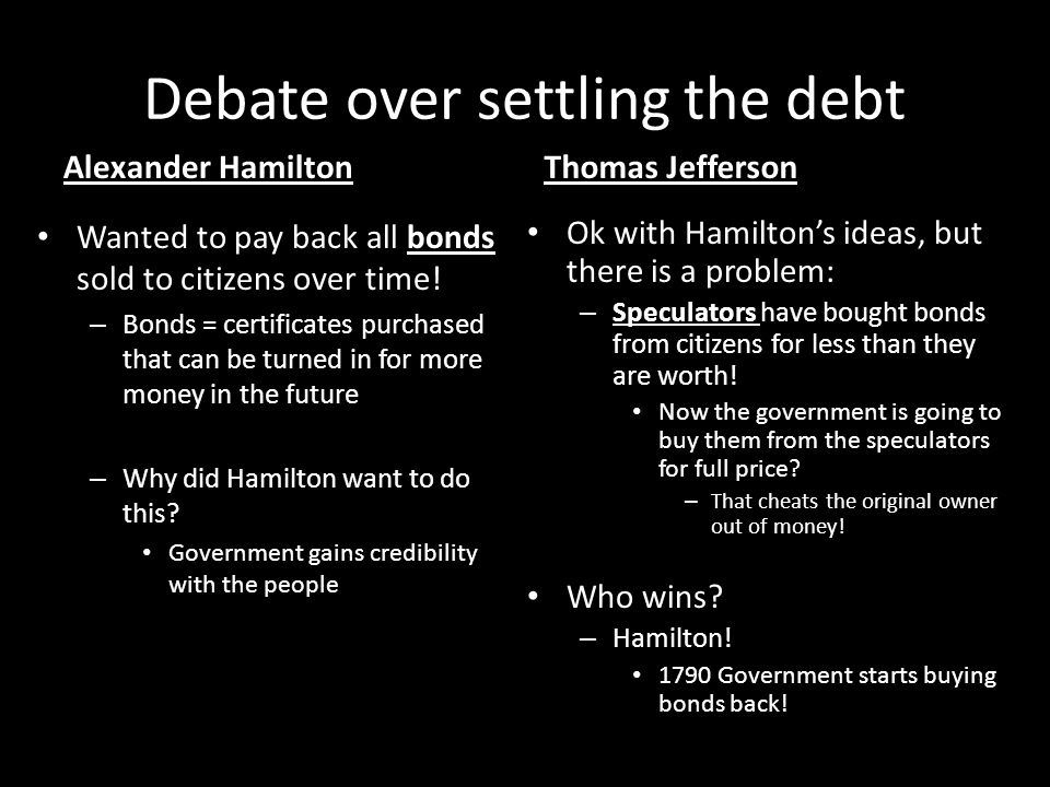Debate over settling the debt Alexander Hamilton Wanted to pay back all bonds sold to citizens over time! – Bonds = certificates purchased that can be