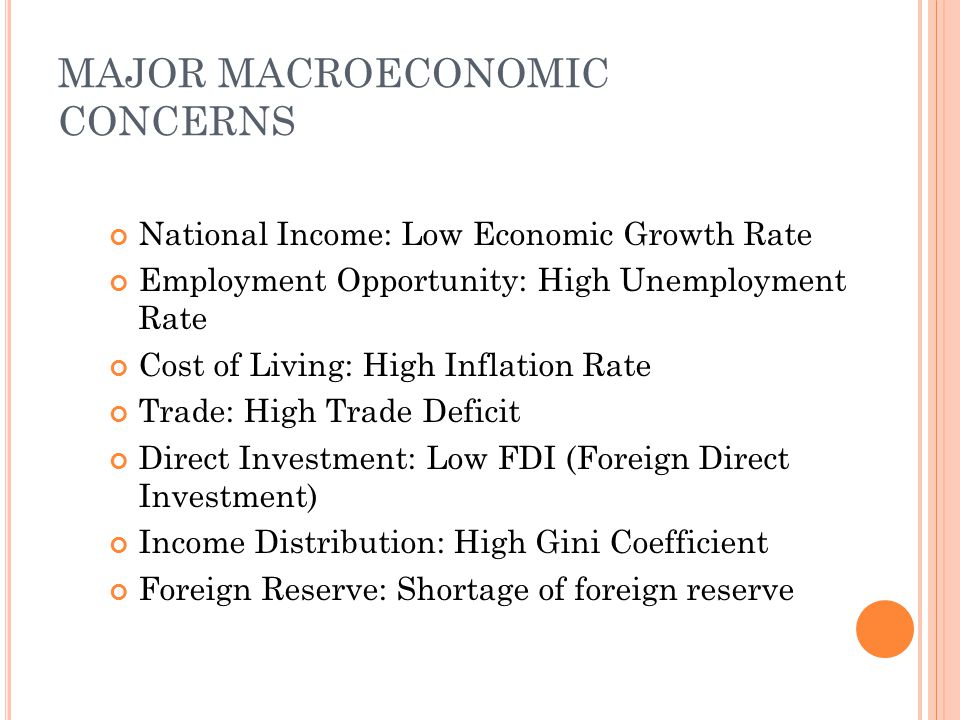 MAJOR MACROECONOMIC CONCERNS National Income: Low Economic Growth Rate Employment Opportunity: High Unemployment Rate Cost of Living: High Inflation R