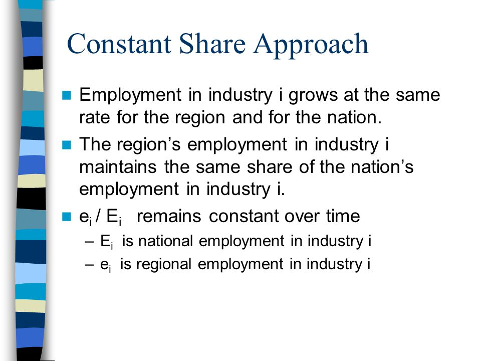 Constant Share Approach Employment in industry i grows at the same rate for the region and for the nation.