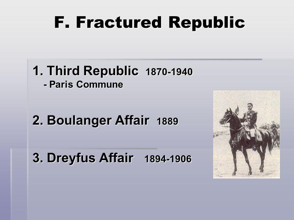 F. Fractured Republic 1. Third Republic 1870-1940 - Paris Commune 2.