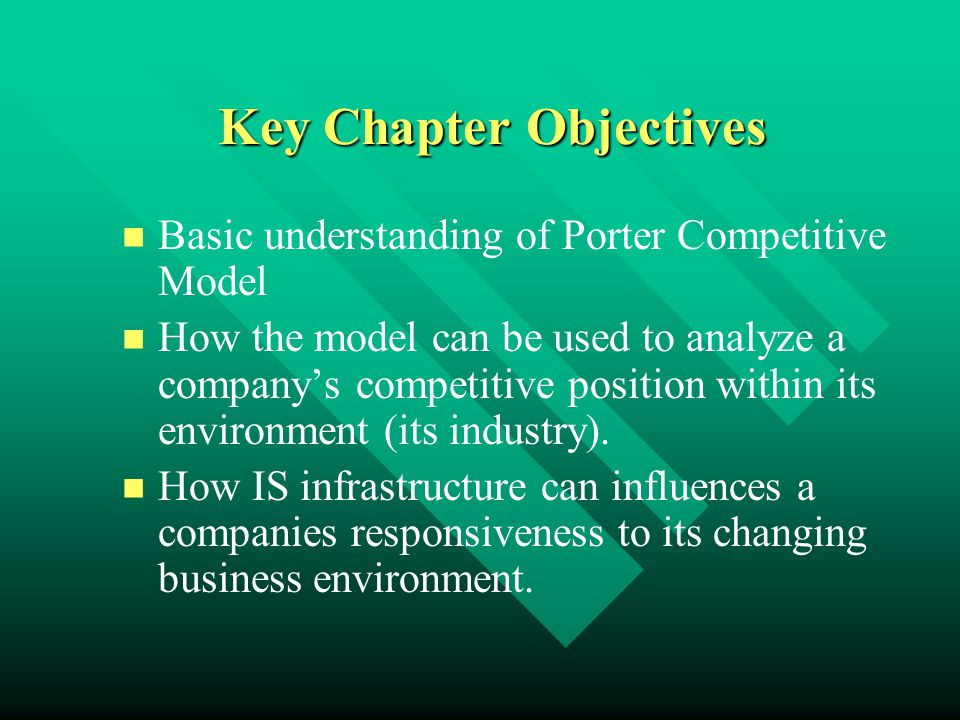 Key Chapter Objectives Basic understanding of Porter Competitive Model How the model can be used to analyze a company's competitive position within it