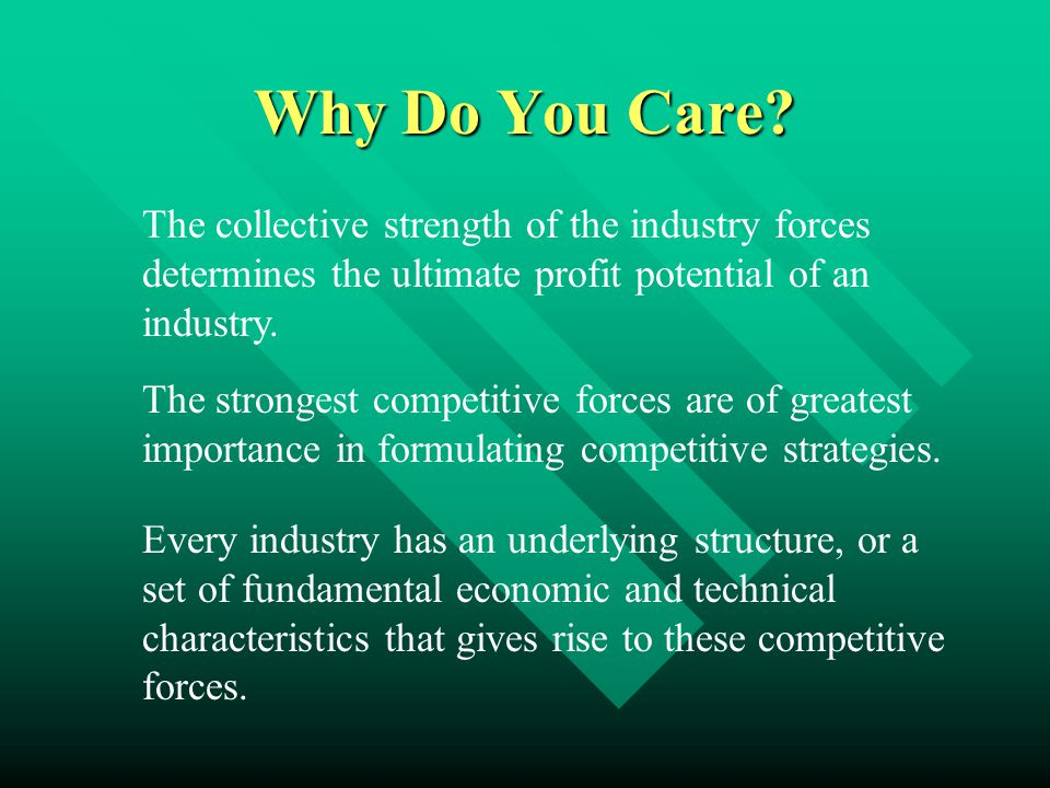 Why Do You Care? The collective strength of the industry forces determines the ultimate profit potential of an industry. The strongest competitive for