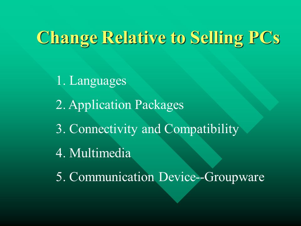 Change Relative to Selling PCs 1. Languages 2. Application Packages 3. Connectivity and Compatibility 4. Multimedia 5. Communication Device--Groupware