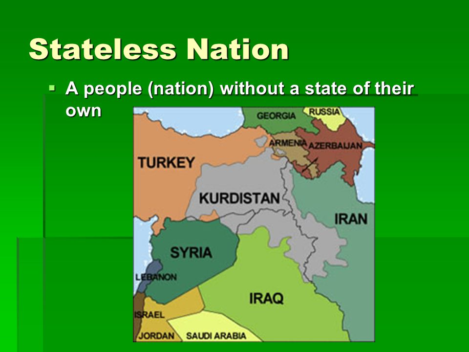 Stateless Nation  A people (nation) without a state of their own