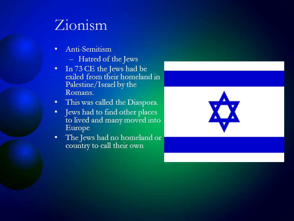 Zionism Anti-Semitism –Hatred of the Jews In 73 CE the Jews had be exiled from their homeland in Palestine/Israel by the Romans.
