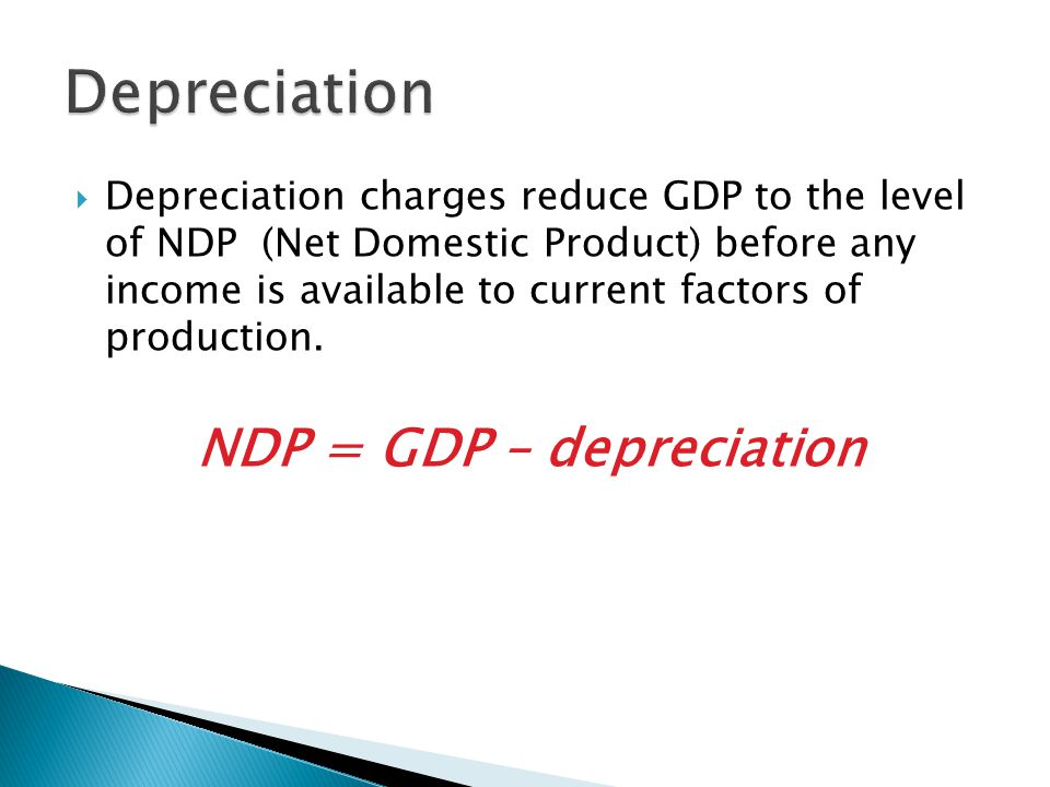  Depreciation charges reduce GDP to the level of NDP (Net Domestic Product) before any income is available to current factors of production. NDP = GD