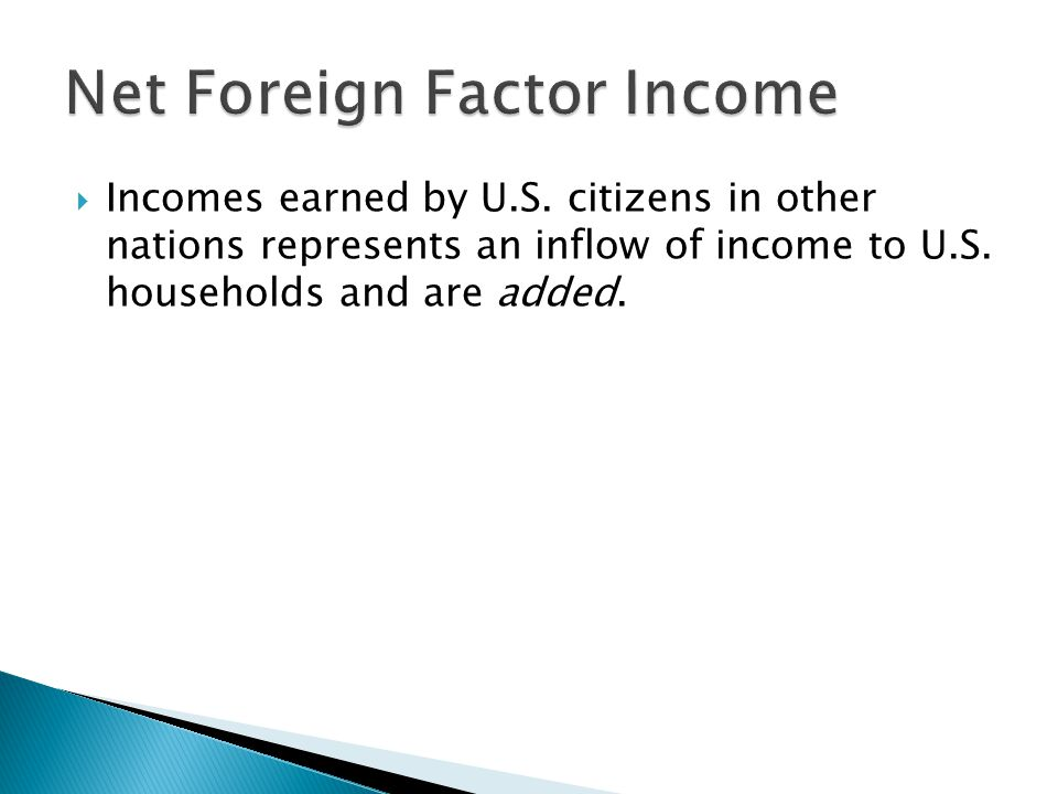  Incomes earned by U.S. citizens in other nations represents an inflow of income to U.S. households and are added.