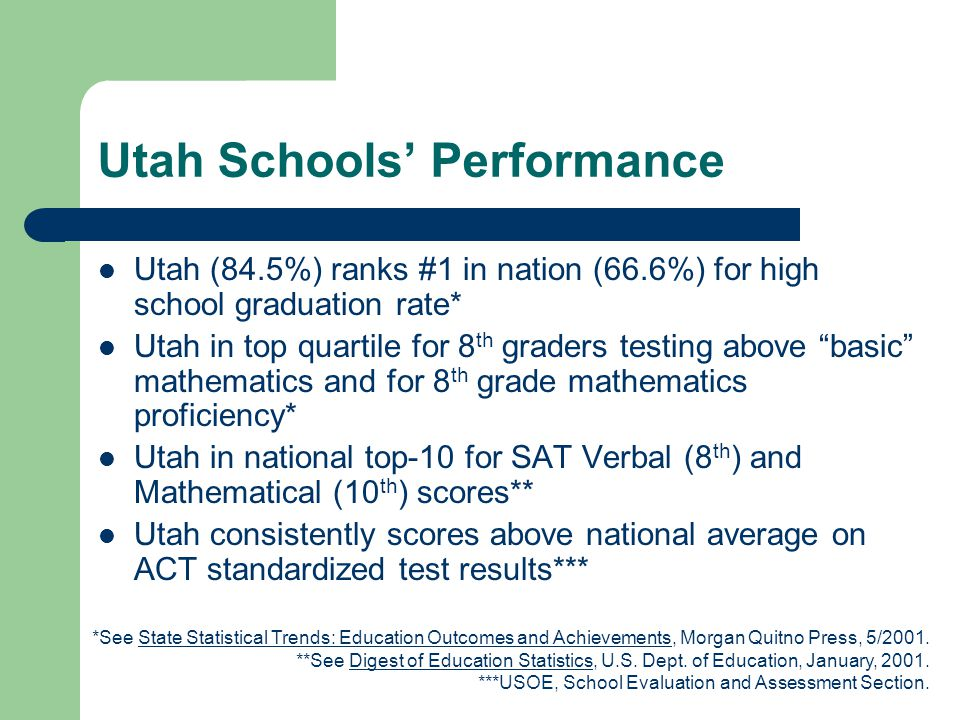 Utah Schools' Performance Utah (84.5%) ranks #1 in nation (66.6%) for high school graduation rate* Utah in top quartile for 8 th graders testing above basic mathematics and for 8 th grade mathematics proficiency* Utah in national top-10 for SAT Verbal (8 th ) and Mathematical (10 th ) scores** Utah consistently scores above national average on ACT standardized test results*** *See State Statistical Trends: Education Outcomes and Achievements, Morgan Quitno Press, 5/2001.
