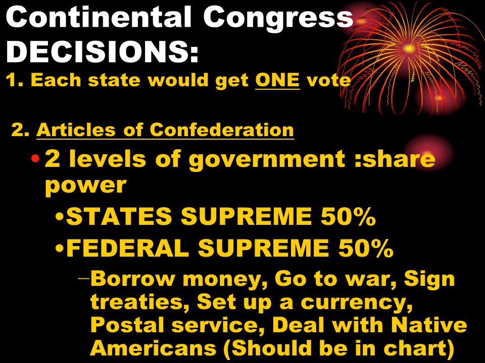 Continental Congress DECISIONS: 1. Each state would get ONE vote 2.