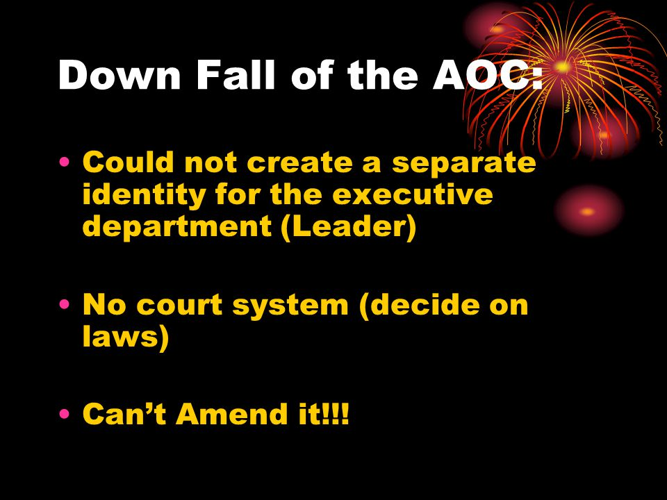 Down Fall of the AOC: Could not create a separate identity for the executive department (Leader) No court system (decide on laws) Can't Amend it!!!