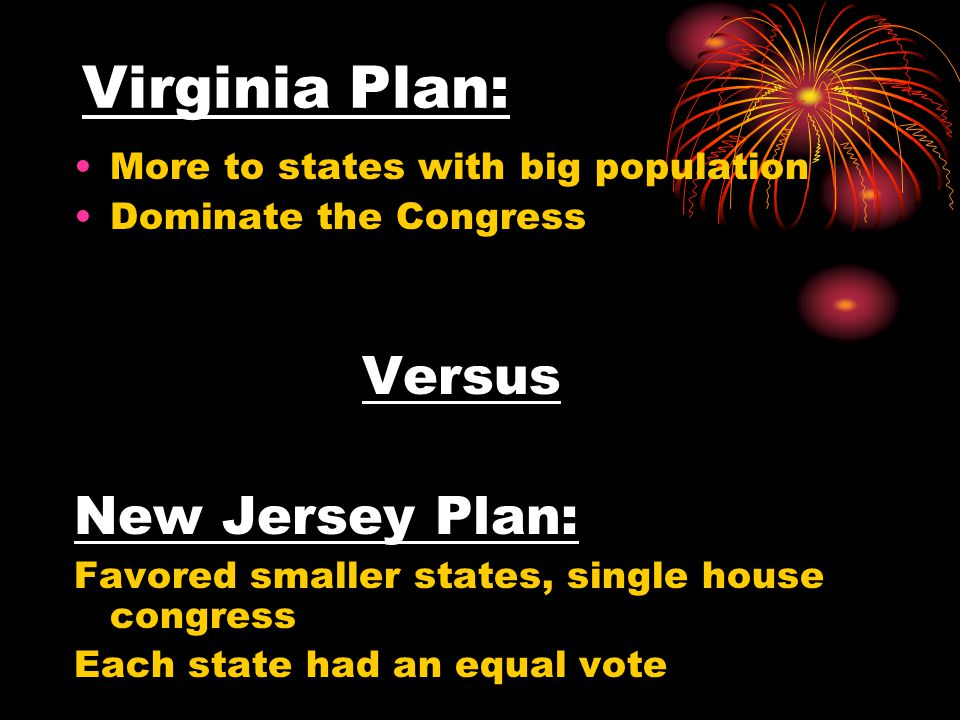 Virginia Plan: More to states with big population Dominate the Congress Versus New Jersey Plan: Favored smaller states, single house congress Each state had an equal vote