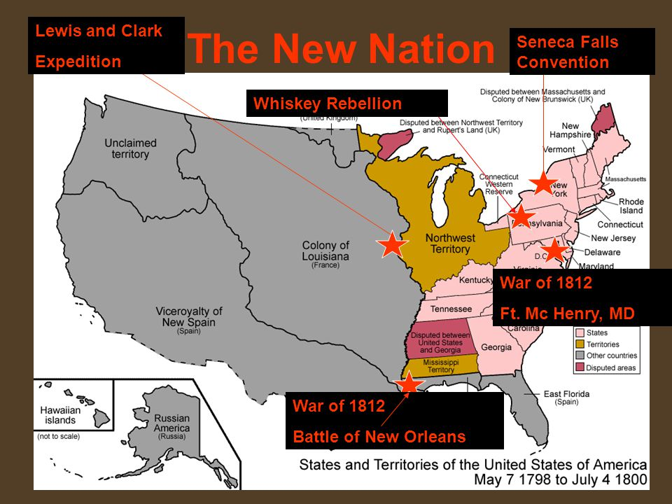 The New Nation Lewis and Clark Expedition Seneca Falls Convention War of 1812 Battle of New Orleans War of 1812 Ft.