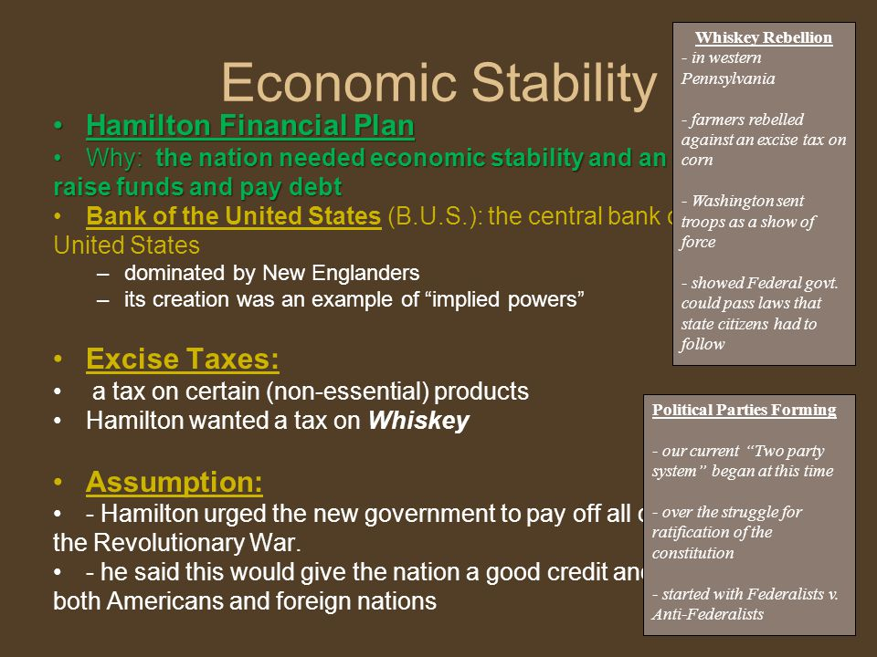 Economic Stability Hamilton Financial PlanHamilton Financial Plan Why: the nation needed economic stability and an ability toWhy: the nation needed economic stability and an ability to raise funds and pay debt Bank of the United States (B.U.S.): the central bank of the United States –dominated by New Englanders –its creation was an example of implied powers Excise Taxes: a tax on certain (non-essential) products Hamilton wanted a tax on Whiskey Assumption: - Hamilton urged the new government to pay off all debt from the Revolutionary War.