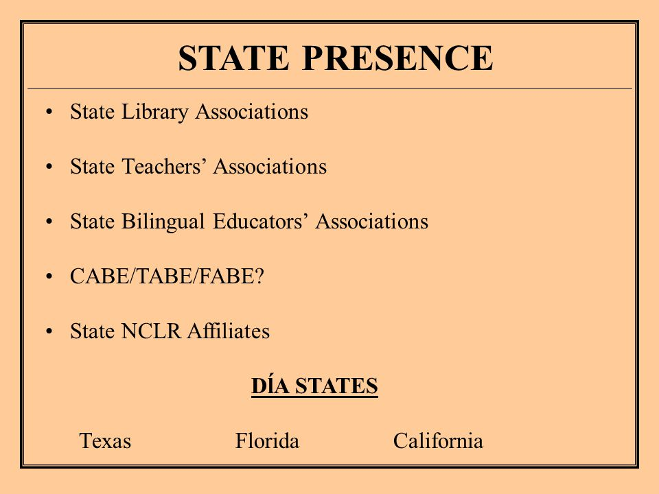State Library Associations State Teachers' Associations State Bilingual Educators' Associations CABE/TABE/FABE.