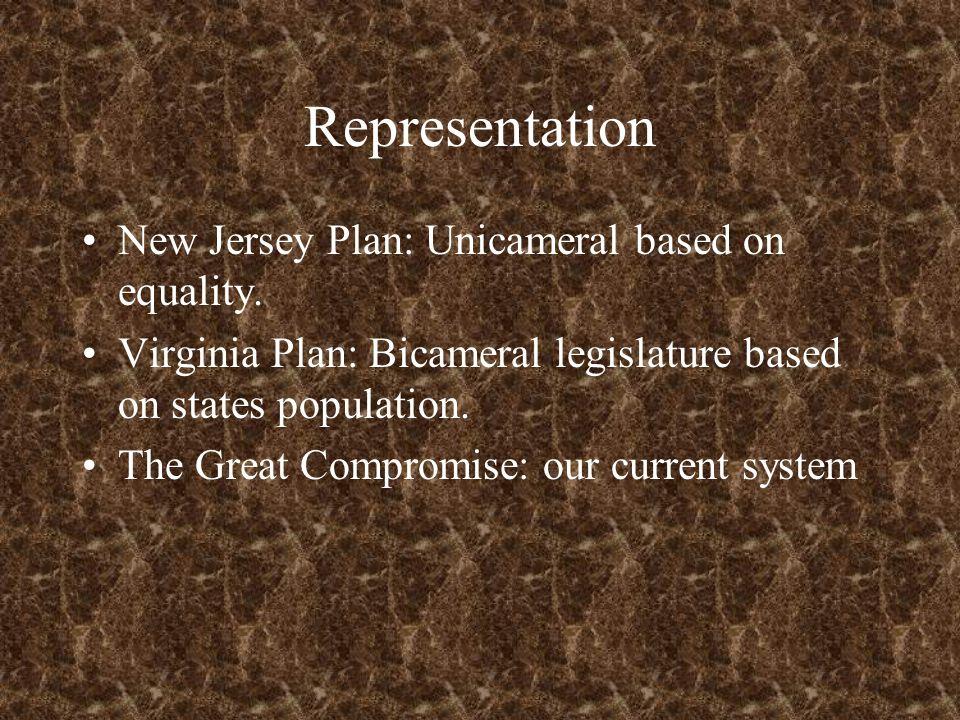 Representation New Jersey Plan: Unicameral based on equality. Virginia Plan: Bicameral legislature based on states population. The Great Compromise: o
