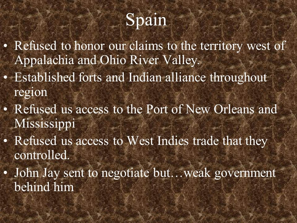 Spain Refused to honor our claims to the territory west of Appalachia and Ohio River Valley. Established forts and Indian alliance throughout region R